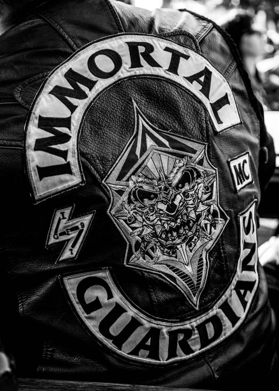 The full Immortal Guardians MC Patch or Colors, on the cut of Ivan Gray, National President of the Immortal Guardians
